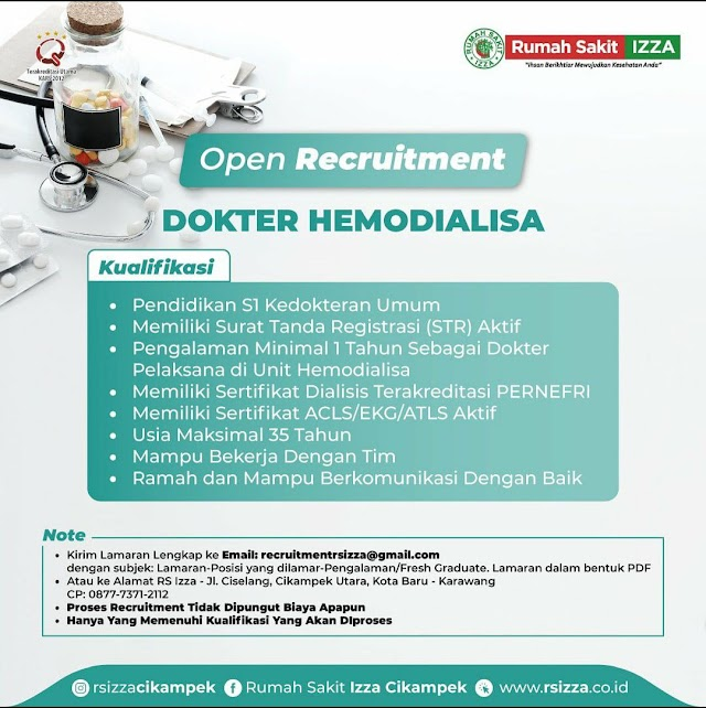 Loker Dokter Hemodialisa RS Izza Cikampek, Karawang