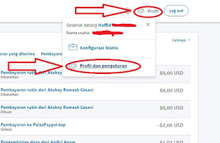 Menu Profil Paypal
