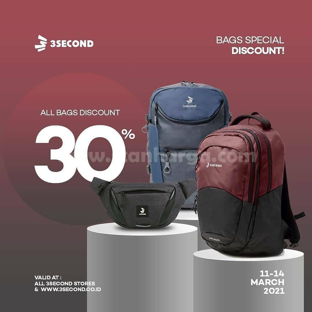Promo 3SECOND Bags Special Discount 30% untuk semua item