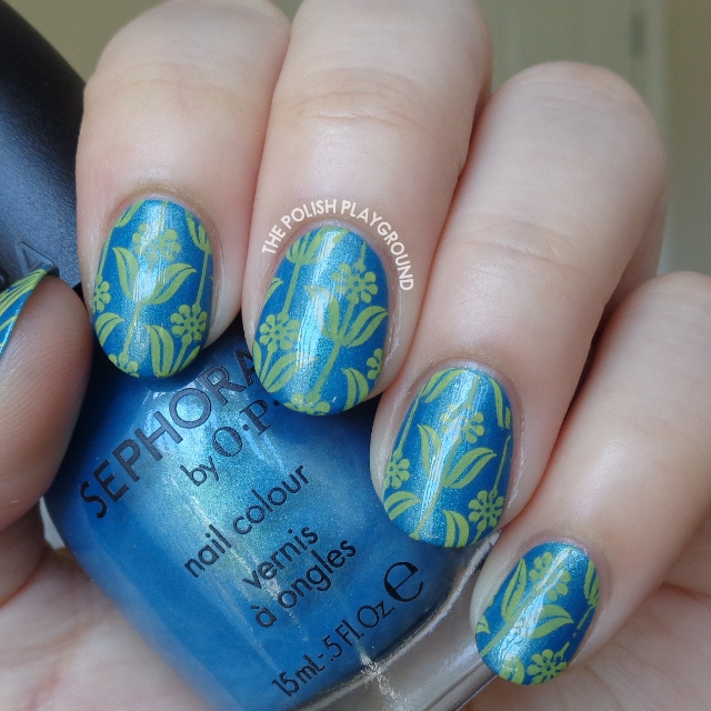 Teal Shimmer with Yellow Floral Pattern Stamping Nail Art