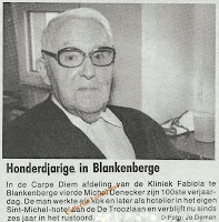 Michel Denecker gevierd als honderdjarige in Blankenberge