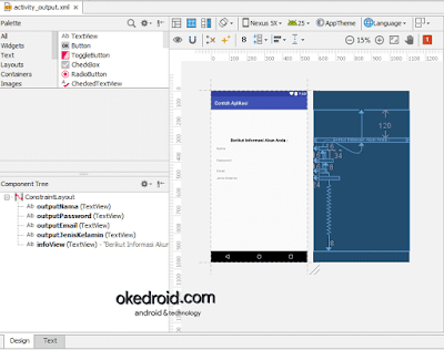 Contoh activity_output.xml Android Studio