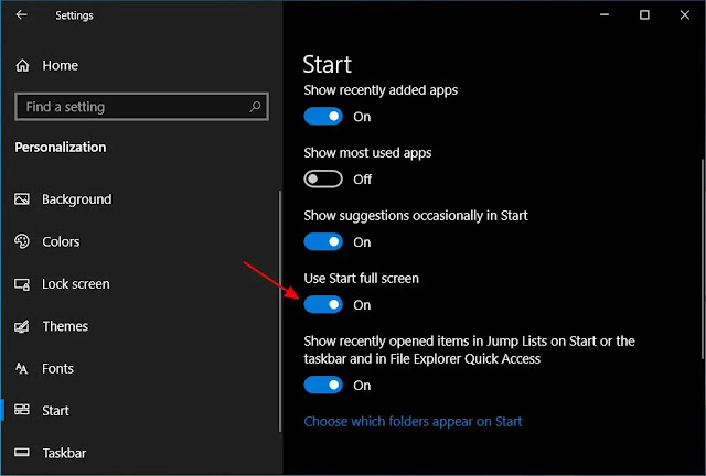 طريقة فتح قائمة ابدأ في وضع ملء الشاشة في حاسوب ويندوز 10