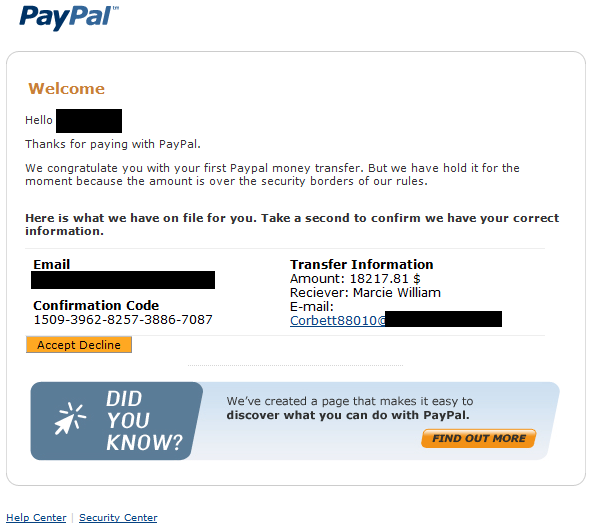 "Welcome to PayPal"" spam / spb-koalitia ru 