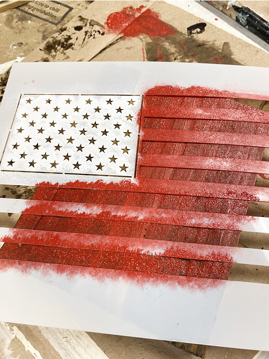 American flag stencil with red painted stripes