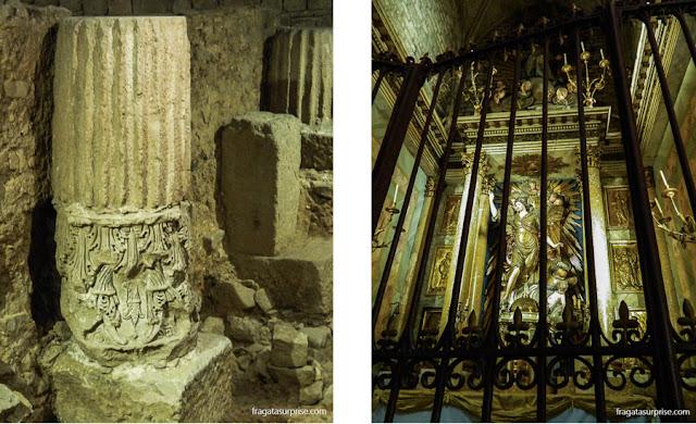 Vestígios de Barcino, a Barcelona Romana, e um altar da Igreja de Santa Maria del Pi, no Bairro Gótico