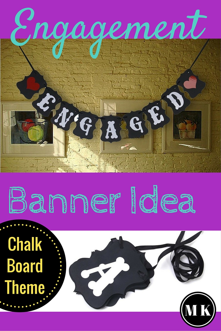 """""""Engaged"""" Black & White Letters Wedding Banner - I love this vintage looking engagement sign with bunting, its so fun and simple! It's an awesome decoration idea for an engagement party or even a bridal shower, and could also double as a photo prop. It would fit right in with a chalk board theme too!"""