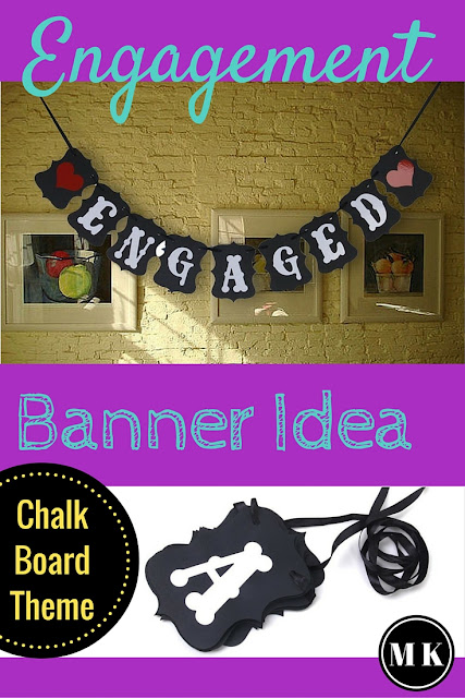 """Engaged"" Black & White Letters Wedding Banner - I love this vintage looking engagement sign with bunting, its so fun and simple! It's an awesome decoration idea for an engagement party or even a bridal shower, and could also double as a photo prop. It would fit right in with a chalk board theme too!"