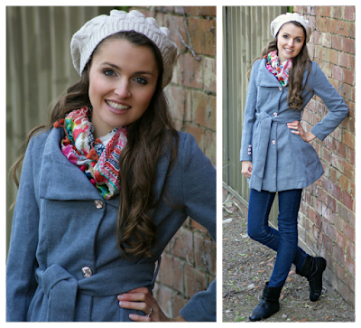 Winter Casual Outfit - Kristy's Winter Must Haves -  Grey Winter Coat, Silk Scarf, Beige Beret and Boots