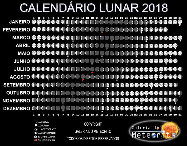 Calendário Lunar 2018 - fases da Lua 2018