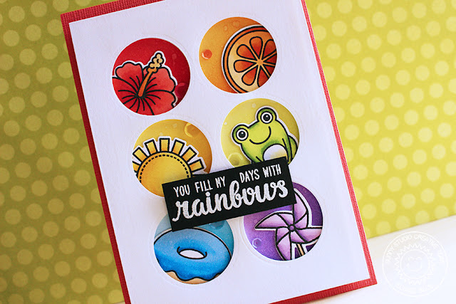 Sunny Studio Stamps: Color Me Happy Rainbow Window Card by Eloise Blue