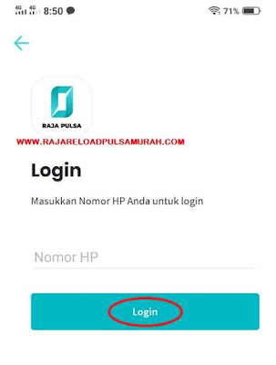 Login Aplikasi Raja Pulsa mobile Topup