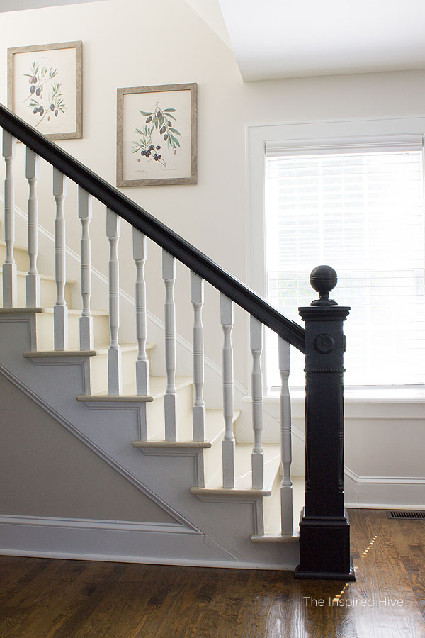 Black painted 100 year old newel post