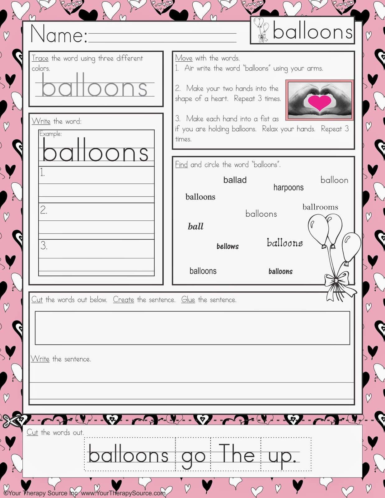 Free Valentine S Day Multisensory Handwriting Activity