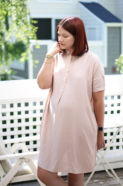 and other stories, blush dress, maternity fashion, fashion blogger, high street, chic