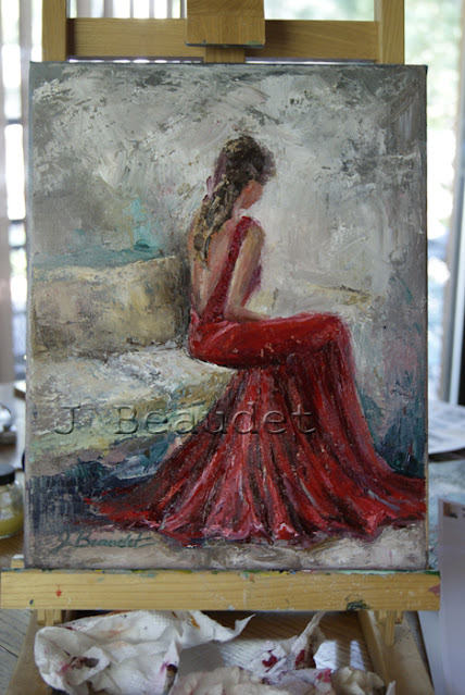 The Moment by J Beaudet woman in red dress painting