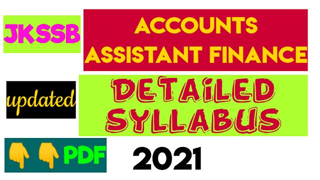 JKSSB FINANCE ACCOUNTS ASSISTANT SYLLABUS 2021