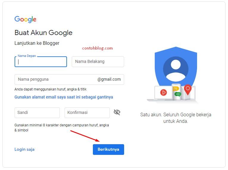isian akun Google baru untuk blogging