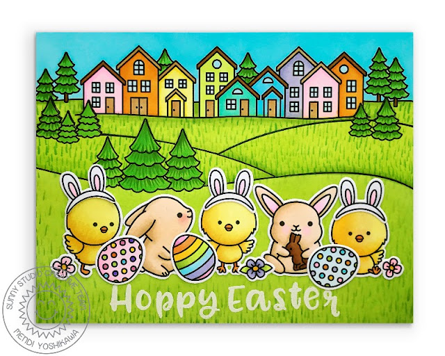 Sunny Studio Blog: Hoppy Easter Chicks & Easter Bunnies with Eggs Handmade Card (using Chickie Baby, Chubby Bunny & Scenic Route Stamps)