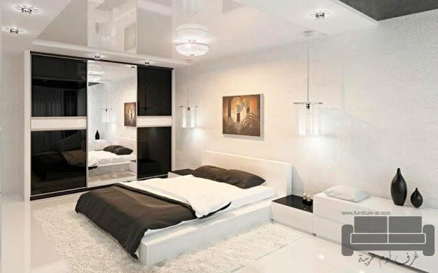 صور غرف نوم مودرن، غرفة نوم مودرن ابيض في اسود كاملة 2016