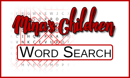 Mina's Children Word Search - with a blurred words search in the background