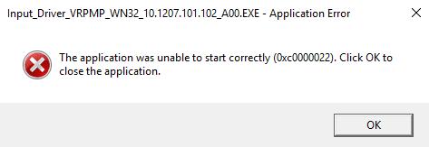 application unable start correctly(0xc0000022)