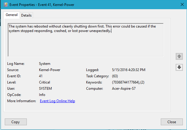 COMPUTERS AND OTHERS: System Crash With 'Event 41, Kernel-Power' At