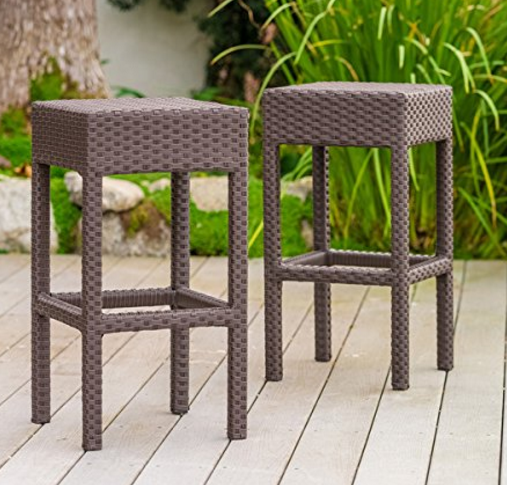 Milton Outdoor Patio Brown Wicker Backless Bar Stool (Set of 2)