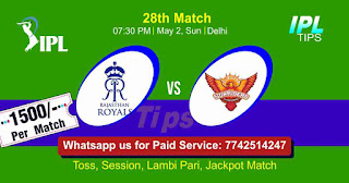 IPL T20 Hyderabad vs Rajasthan 28th Match Who will win Today? Cricfrog