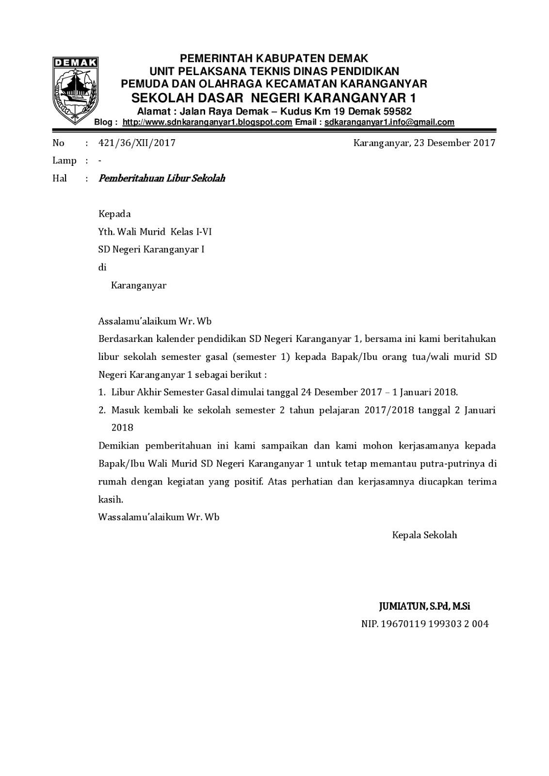 Download Contoh Surat Pemberitahuan Hari Libur Sekolah ...