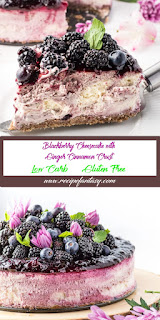Blackberry Cheesecake with Ginger Cinnamon Crust (Low Carb & Gluten Free)