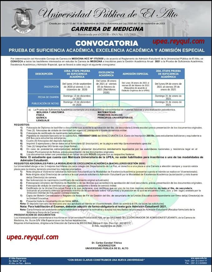 Medicina UPEA 2021: Convocatoria a la prueba de Suficiencia Académica, Excelencia Académica y Admisión Especial
