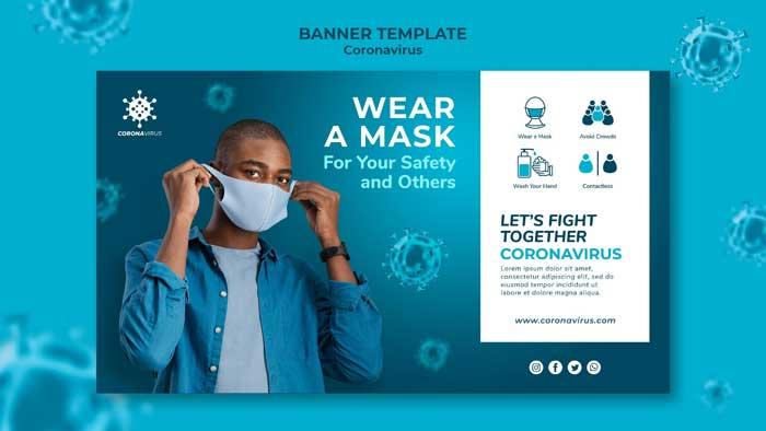 Coronavirus Mask Banner PSD Template