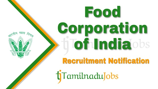 FCI Recruitment notification of 2019 - for JE, AG, Steno and Typist - 4103 post