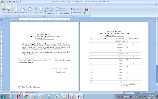 Berita acara rapat dan daftar hadir pembentukan tim pengembang kurikulum sekolah/madrasah