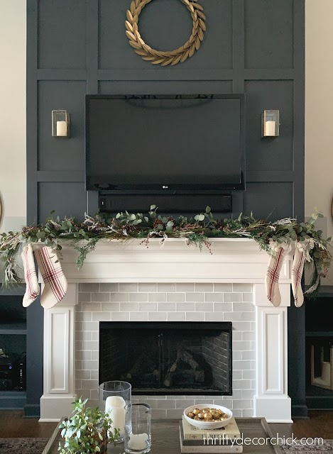 Fluffy layered garland on mantel