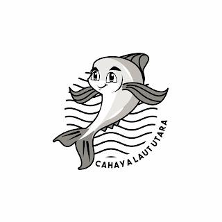 Desain Logo Maskot Ikan Cahaya Laut Utara