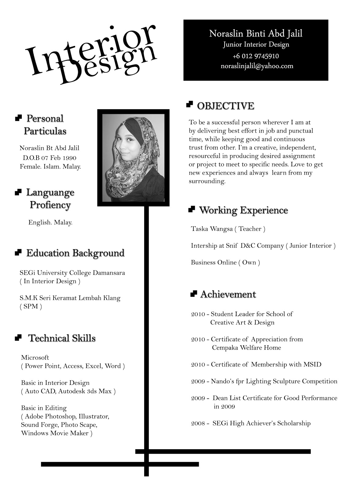 Designer Cv Design Sample