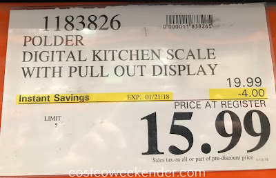 Deal for the Polder Digital Kitchen Scale with Pull Out Display at Costco