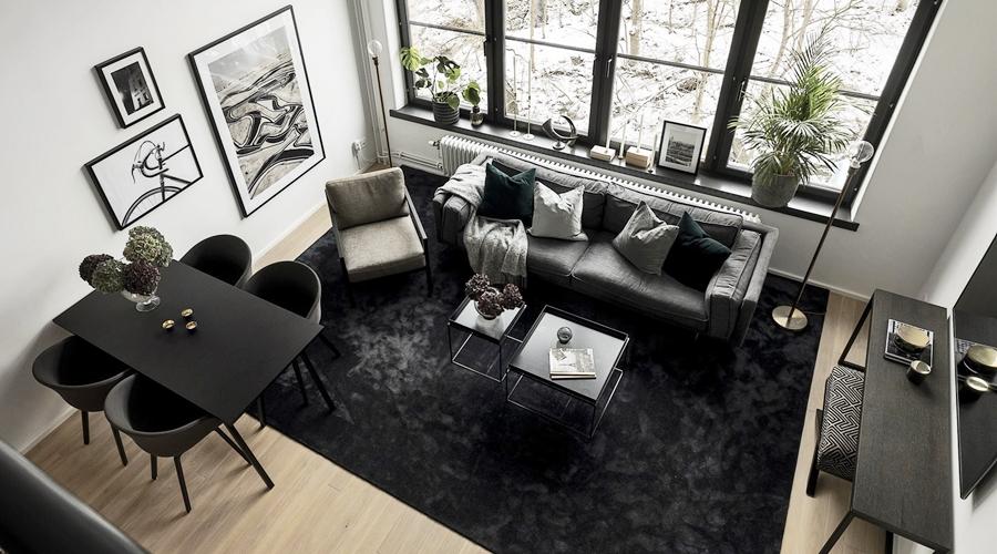 Kawalerka w czerni, wystrój wnętrz, wnętrza, urządzanie domu, dekoracje wnętrz, aranżacja wnętrz, inspiracje wnętrz,interior design , dom i wnętrze, aranżacja mieszkania, modne wnętrza, home decor, black and white, small interior, small apartment, małe mieszkanie, styl industrialny, industrial style, loft, styl loftowy, męskie wnętrze, plan otwarty, open space,