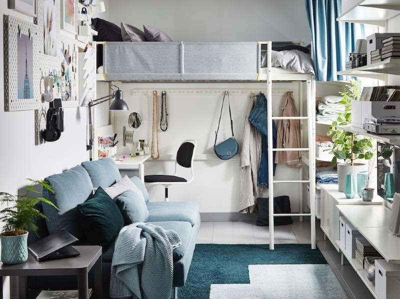 dormitorio infantil y juvenil de Ikea con cama alta