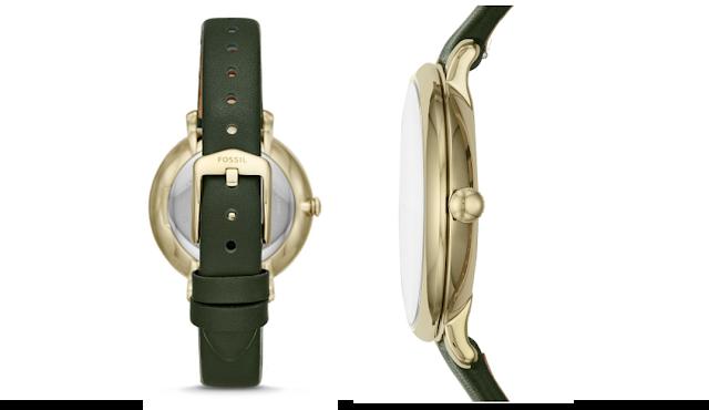 jam Fossil Jacqueline Three-Hand Dark Green Leather Watch [ES4771]
