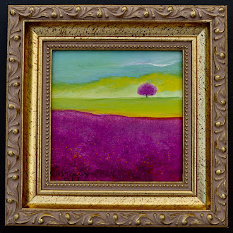 "Minimalist Original Oil painting 4""x 4""        Golden Wood Frame"