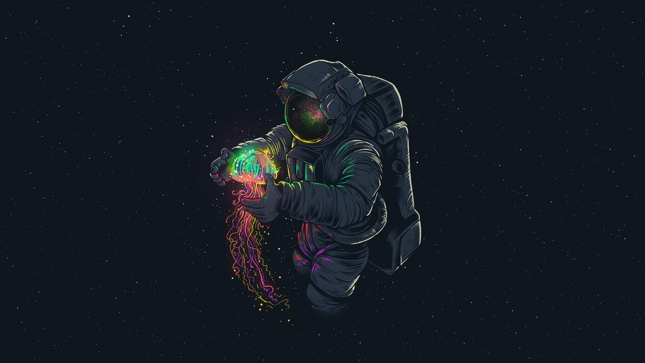 Astronaut Jellyfish Space Digital Art 4k Wallpaper 107