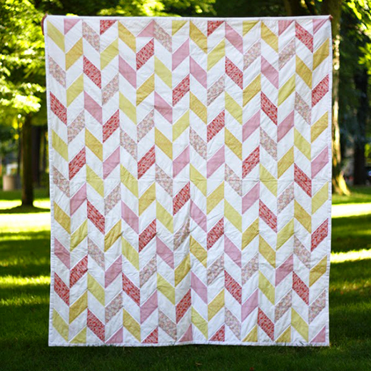 Summertime Herringbone Quilt Free Pattern designed by Michael Ann of MichaelAnnMade