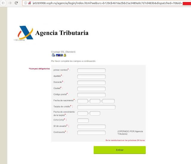 Detectada una nueva campaña de phishing que suplanta a la Agencia Tributaria