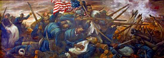 El 54.o regimiento de Massachusetts, bajo dirección del coronel Shaw en el ataque en el fuerte Wagner