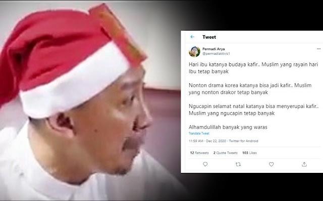 Orang Islam Mengucapkan 'Selamat Natal', Abu Janda: Alhamdulillah Banyak yang Waras
