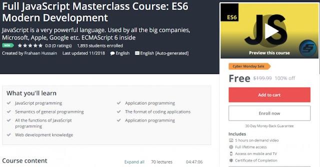 [100% Off] Full JavaScript Masterclass Course: ES6 Modern Development| Worth 199,99$