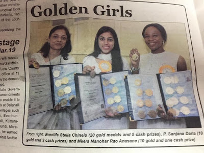 Emelife Stella Chinelo Receives Medals And Cash Prizes From University Of Mysore